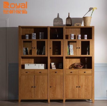 皇朝家私 德里克创意书柜置物橱架 实木带门大家具