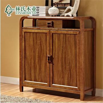 林氏木业 新中式实木抽屉 客厅大 两门储物柜实木鞋
