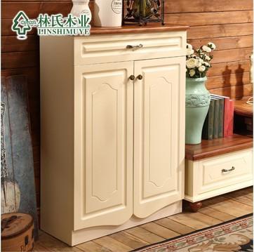 林氏木业英伦乡村田园实木鞋柜 家用两门木质玄关