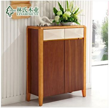 林氏木业原木色两门鞋柜 中式实木门厅收纳储物柜子