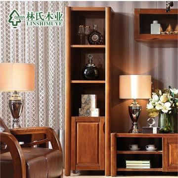 林氏木业中式全实木酒柜 单门客厅储物陈列展示柜