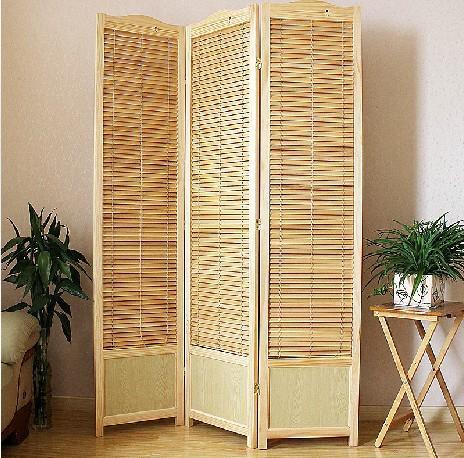 弯曲带档板实木折叠屏风 家居隔断 高度2米
